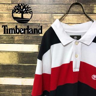 ティンバーランド(Timberland)の90's ティンバー ランド ロゴ刺繍 太ボーダー ゆるだぼ ポロシャツ(ポロシャツ)