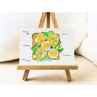 パクチーと半熟卵のオープントースト【原画 水彩画】(雑貨)