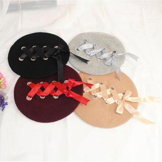 vwab 826nkps ♡ワインレッド編み込みレースアップ♡ベレー帽(ハンチング/ベレー帽)
