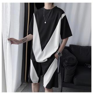 セットアップ 半袖 Tシャツ ハーフパンツ ルームウェア 黒UXKzSt(その他)