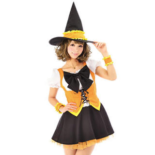 美品 魔女っ子 コスプレ ハロウィン アイドル 制服 メイド コスチューム 魔女(衣装一式)
