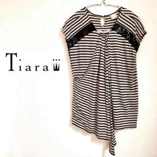 ティアラ(tiara)のTiara (ティアラ) トップス Tシャツ スパンコール ドレープ ストライプ(カットソー(半袖/袖なし))