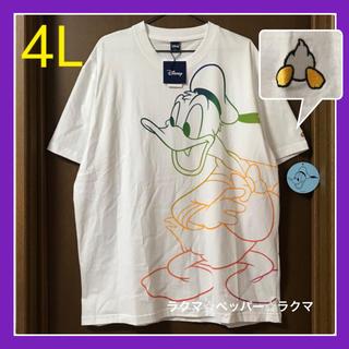 ドナルドダック tシャツ 4L 袖ワンポイント