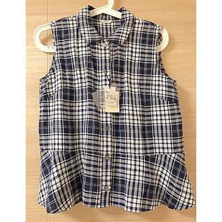 ニーム(NIMES)のNIMES  ノースリーブリネンチェックシャツ(シャツ/ブラウス(半袖/袖なし))