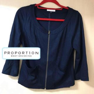 プロポーションボディドレッシング(PROPORTION BODY DRESSING)のプロポーションボディドレッシング サマージャケット ストレッチ ネイビー(ノーカラージャケット)