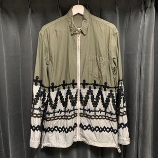 サカイ(sacai)のsacai 16SS ナイロン切替 刺繍柄 シャツジャケット カーキ グレー 緑(その他)