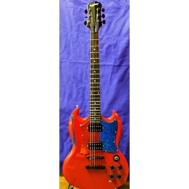 Epiphone(エピフォン)のEpiphone G-310 all ブラックパーツ +Gotoペグ交換 楽器のギター(エレキギター)の商品写真