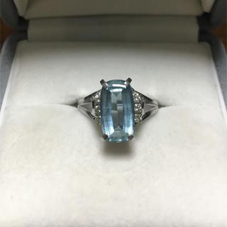 三越 - 三越 ダイヤモンド×アクアマリン リング Pt900 2.24ct 7.5g
