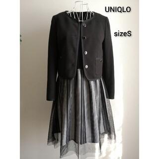 ユニクロ(UNIQLO)の美品 UNIQLO お上品ノーカラージャケット(ノーカラージャケット)