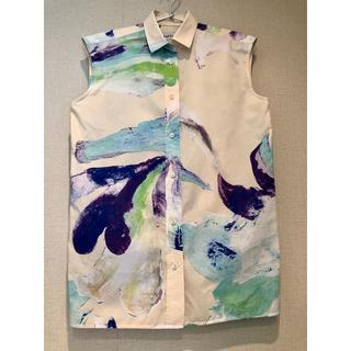 エンフォルド(ENFOLD)のENFOLD アート ノースリーブ シャツ(シャツ/ブラウス(半袖/袖なし))