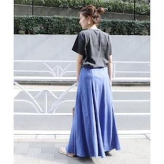プラージュ(Plage)のPlage Linen フレアスカート ブルー 36(ロングスカート)