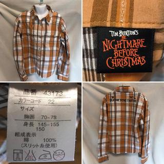 Disney - kids150size♡チェック ナイトメア 薄手シャツ 袖短くなります♡