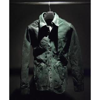 ISAMUKATAYAMA BACKLASH - (定価154000)バックラッシュ・ベルギーショルダー製品染めレザーシャツ