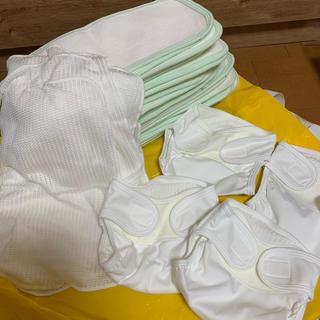 新品 未使用 おむつカバー4枚、おむつ30枚、さらさらネット10枚 約10万円分(布おむつ)