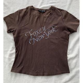 フォクシー(FOXEY)のフォクシーニューヨーク ラインストーン カットソー Tシャツ 40(Tシャツ(半袖/袖なし))