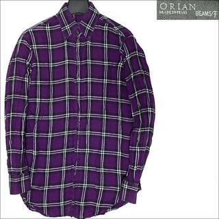 オリアン(ORIAN)の涼し気なリネン素材 良品 オリアン×ビームスF チェック柄 リネンシャツ 紫 S(シャツ)