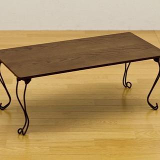 新品 送料無料 折れ脚テーブル 角型 グリーン(ローテーブル)