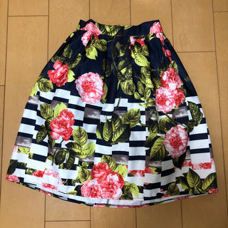 花柄膝丈スカート(ひざ丈スカート)