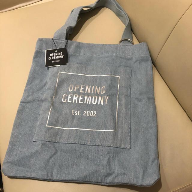 OPENING CEREMONY(オープニングセレモニー)の正規新品 OPENING CEREMOMY オープニングセレモニー デニムトート レディースのバッグ(トートバッグ)の商品写真