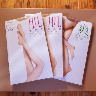 アツギ(Atsugi)のアスティーグ ストッキング 3足 肌 爽 オークルベージュ スキニーベージュ(タイツ/ストッキング)