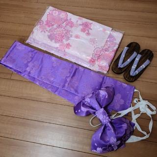 美品 浴衣 帯 下駄 一式セット ピンク 紫 レース ラメ 姫系(浴衣)
