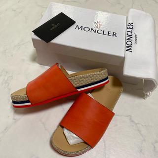 モンクレール(MONCLER)の正規保証 新品未使用 モンクレール ヴィンテージ加工 オールレザー サンダル(サンダル)