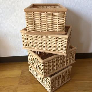 ムジルシリョウヒン(MUJI (無印良品))の無印良品 重なるブリ材長方形ボックス バスケット かご(バスケット/かご)
