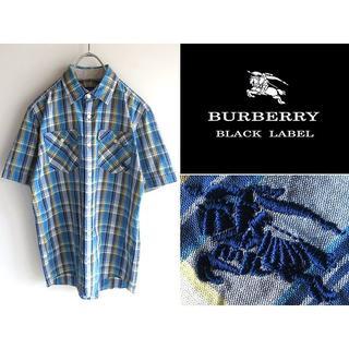 バーバリーブラックレーベル(BURBERRY BLACK LABEL)の希少 バーバリーブラックレーベル ホースロゴ刺繍 ブルーチェックシャツ 2(シャツ)
