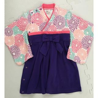袴ロンパース🏵ピンク×パープル 女の子(和服/着物)
