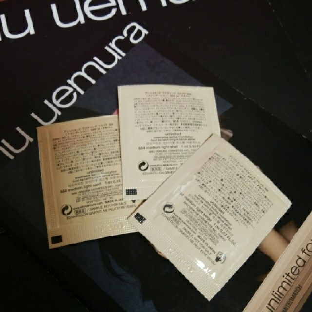 shu uemura(シュウウエムラ)の【標準色~イエロー系標準色】shu uemuraファンデーションサンプル×❸色 コスメ/美容のベースメイク/化粧品(ファンデーション)の商品写真