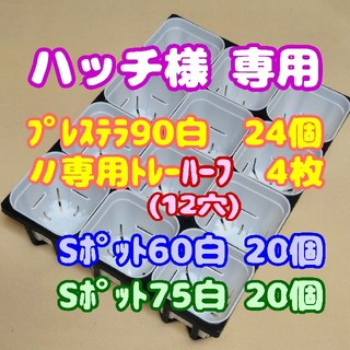 【ハッチ様専用】【スリット鉢】プレステラ90白24個+専用トレー:ハーフ4枚 他(プランター)