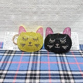 ラインストーン 猫 キーホルダー(キーホルダー)