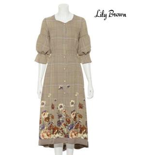 リリーブラウン(Lily Brown)のLily Brown  グレンチェックフラワーワンピース (ロングワンピース/マキシワンピース)