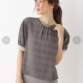 クチュールブローチ(Couture Brooch)のクチュールブローチ レースドッキングチェック柄ブラウス 美品 スモックブラウス(シャツ/ブラウス(半袖/袖なし))
