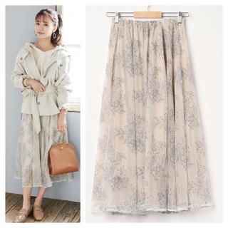 ミスティウーマン(mysty woman)の花柄刺繍スカート(ロングスカート)