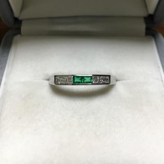ダイヤモンド×エメラルドリング Pt900 0.28ct 0.14ct 3.4g(リング(指輪))