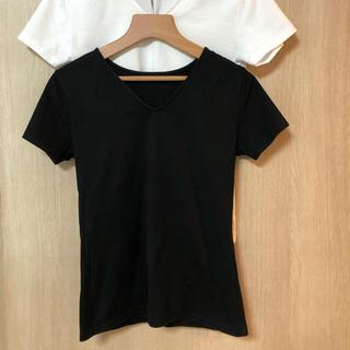 アンタイトル(UNTITLED)のアンタイトル コットンVネックTシャツ 白&黒2枚セット サイズ2(Tシャツ(半袖/袖なし))