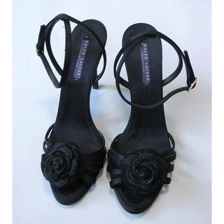 ラルフローレン(Ralph Lauren)のRALPH LAUREN ラルフローレン 黒い布製でバラ?が付いたサンダル 9B(サンダル)