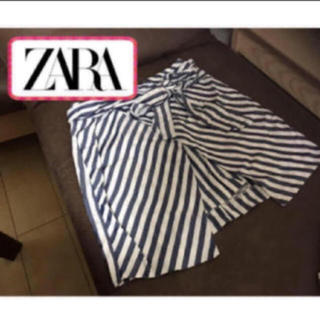 ザラ(ZARA)のZARA ストライプ 巻きスカート スリットスカート (ミニスカート)