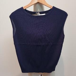 ジャスグリッティー(JUSGLITTY)の 紺ゆったりノースリーブ「JUSGLITTY」(カットソー(半袖/袖なし))