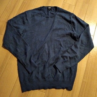 ユニクロ(UNIQLO)のメンズ ユニクロ S ニット コットン 紺色(ニット/セーター)