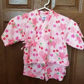 ミキハウス甚平ピンク90女の子 大好き 大小 桜 さくらんぼ柄