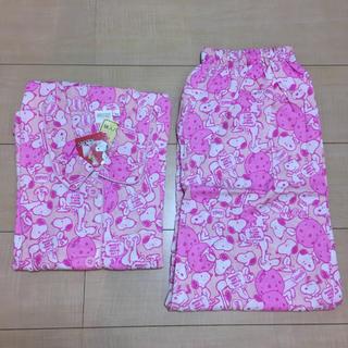 スヌーピー(SNOOPY)のスヌーピー 半袖  ピンク パジャマ  上下セット  M〜L(パジャマ)
