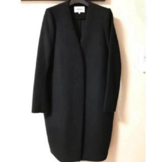 ENFOLD - ENFOLD ウールリバーノーカラーコート ブラック×グリーン ☆サイズ38