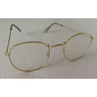 ビームス(BEAMS)のボストン型メガネ ゴールドフレーム 伊達めがね(サングラス/メガネ)