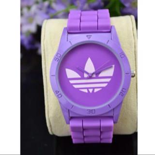 アディダス(adidas)のadidasパープル蛍光色腕時計(腕時計)