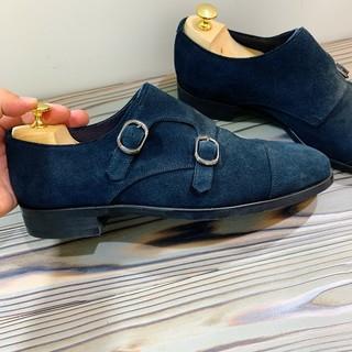 スーツカンパニー(THE SUIT COMPANY)の【美品】スーツカンパニー ダブルモンクの本皮スムーススエード 25.5cm Be(ドレス/ビジネス)