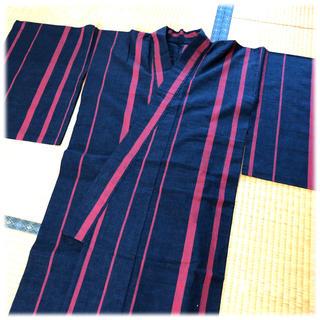 【浴衣】紺地にエンジの縞*小さめサイズ(浴衣)