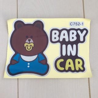 ディズニー(Disney)の新品未使用 baby in car ステッカー ブルー(その他)