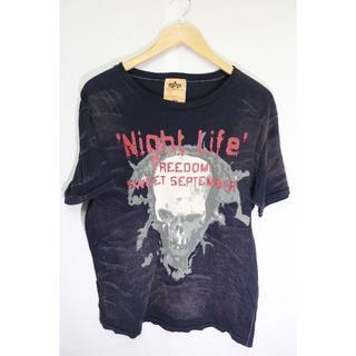 アルファ(alpha)のALPHAスカルTシャツ/ブランドアメリカブラック総柄L(Tシャツ/カットソー(半袖/袖なし))